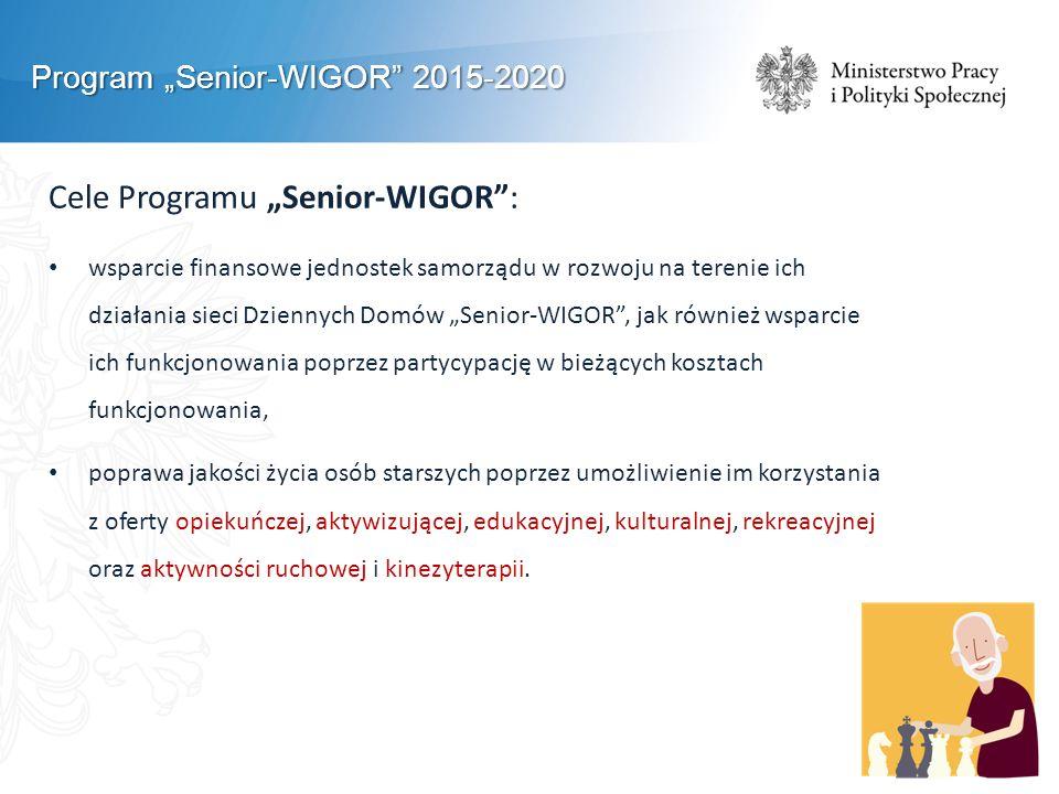 """Program """"Senior-WIGOR 2015-2020 Cele Programu """"Senior-WIGOR : wsparcie finansowe jednostek samorządu w rozwoju na terenie ich działania sieci Dziennych Domów """"Senior-WIGOR , jak również wsparcie ich funkcjonowania poprzez partycypację w bieżących kosztach funkcjonowania, poprawa jakości życia osób starszych poprzez umożliwienie im korzystania z oferty opiekuńczej, aktywizującej, edukacyjnej, kulturalnej, rekreacyjnej oraz aktywności ruchowej i kinezyterapii."""