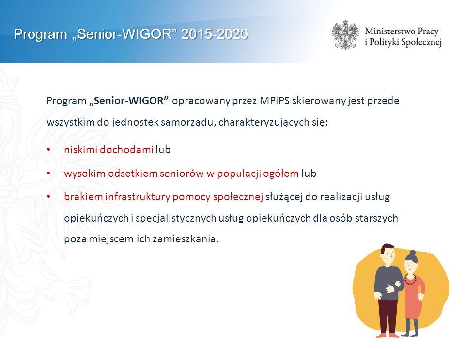 """Program """"Senior-WIGOR 2015-2020 Program """"Senior-WIGOR opracowany przez MPiPS skierowany jest przede wszystkim do jednostek samorządu, charakteryzujących się: niskimi dochodami lub wysokim odsetkiem seniorów w populacji ogółem lub brakiem infrastruktury pomocy społecznej służącej do realizacji usług opiekuńczych i specjalistycznych usług opiekuńczych dla osób starszych poza miejscem ich zamieszkania."""