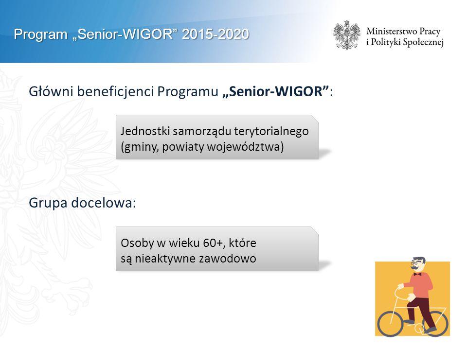 """Program """"Senior-WIGOR 2015-2020 Główni beneficjenci Programu """"Senior-WIGOR : Grupa docelowa: Jednostki samorządu terytorialnego (gminy, powiaty województwa) Osoby w wieku 60+, które są nieaktywne zawodowo"""