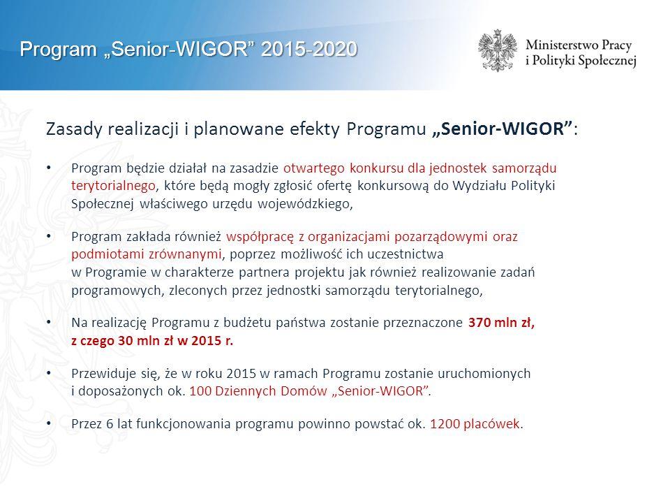 """Program """"Senior-WIGOR 2015-2020 Zasady realizacji i planowane efekty Programu """"Senior-WIGOR : Program będzie działał na zasadzie otwartego konkursu dla jednostek samorządu terytorialnego, które będą mogły zgłosić ofertę konkursową do Wydziału Polityki Społecznej właściwego urzędu wojewódzkiego, Program zakłada również współpracę z organizacjami pozarządowymi oraz podmiotami zrównanymi, poprzez możliwość ich uczestnictwa w Programie w charakterze partnera projektu jak również realizowanie zadań programowych, zleconych przez jednostki samorządu terytorialnego, Na realizację Programu z budżetu państwa zostanie przeznaczone 370 mln zł, z czego 30 mln zł w 2015 r."""