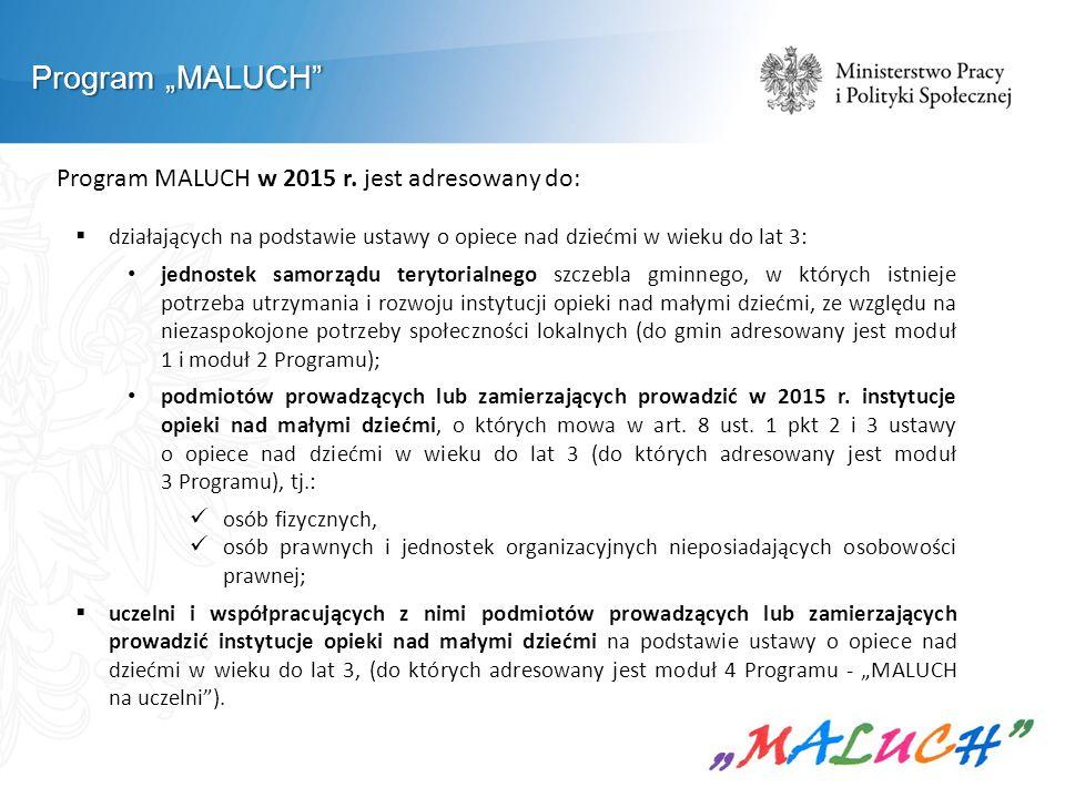 """Program """"MALUCH"""" Program MALUCH w 2015 r. jest adresowany do:  działających na podstawie ustawy o opiece nad dziećmi w wieku do lat 3: jednostek samo"""