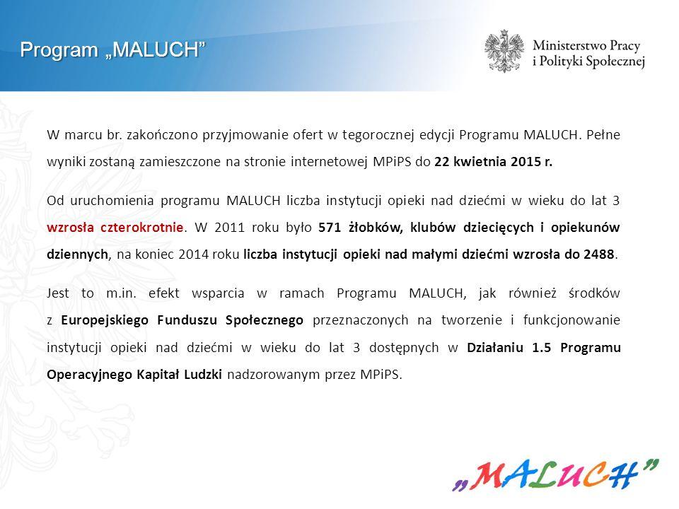 """Program """"MALUCH"""" W marcu br. zakończono przyjmowanie ofert w tegorocznej edycji Programu MALUCH. Pełne wyniki zostaną zamieszczone na stronie internet"""