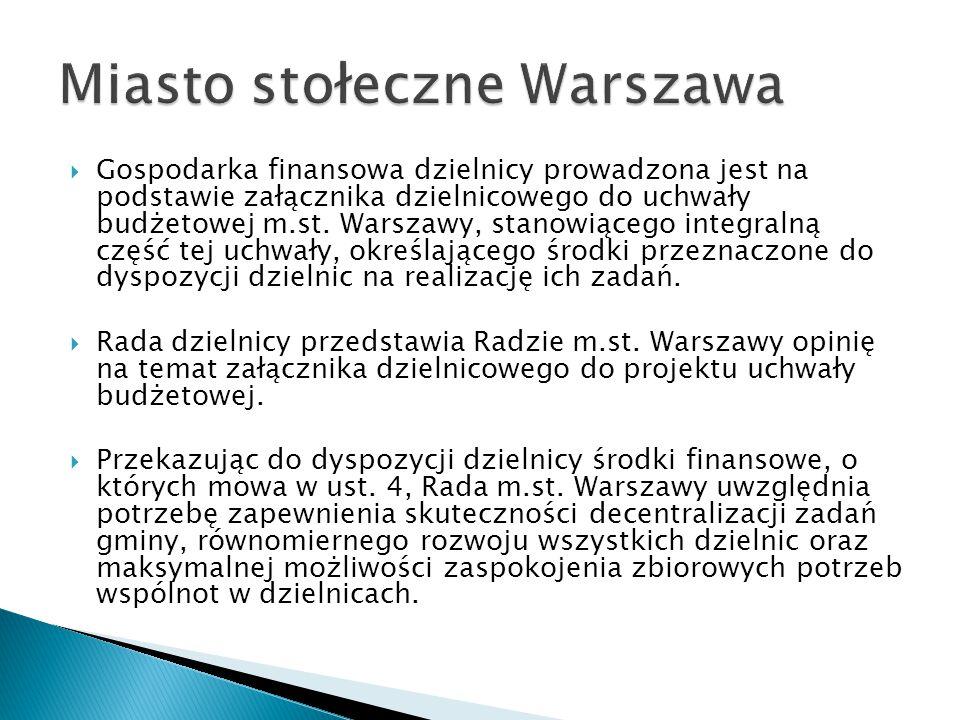  Gospodarka finansowa dzielnicy prowadzona jest na podstawie załącznika dzielnicowego do uchwały budżetowej m.st. Warszawy, stanowiącego integralną c