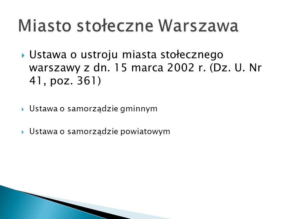  Ustawa o ustroju miasta stołecznego warszawy z dn. 15 marca 2002 r. (Dz. U. Nr 41, poz. 361)  Ustawa o samorządzie gminnym  Ustawa o samorządzie p