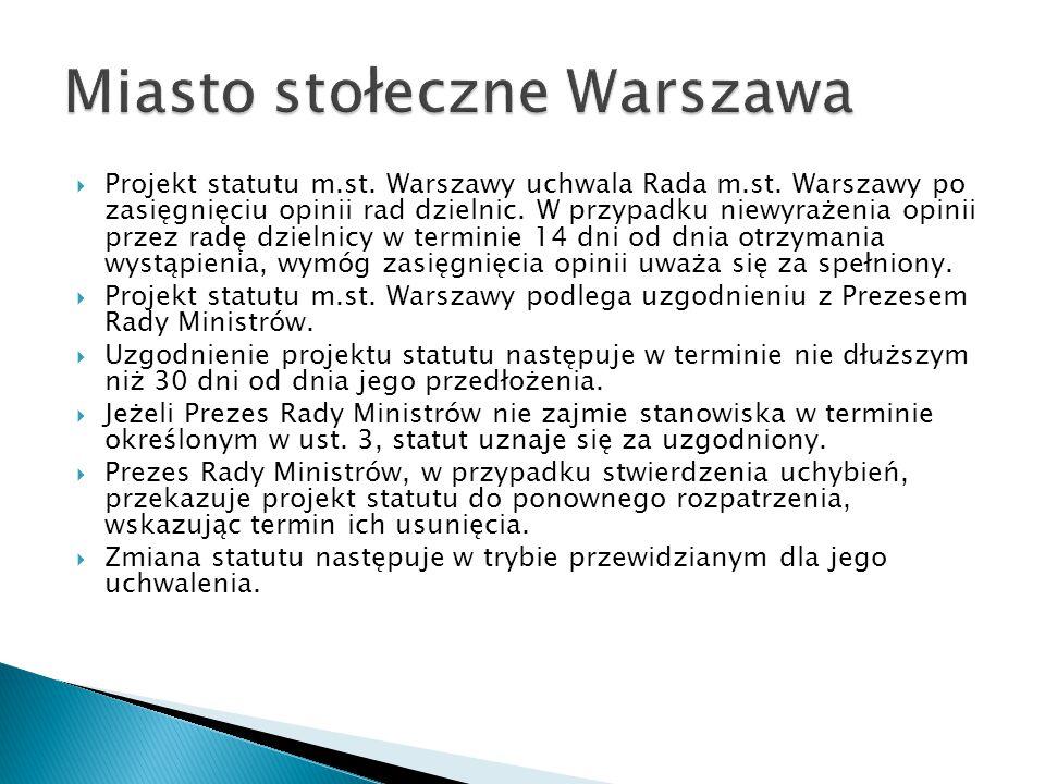  Projekt statutu m.st. Warszawy uchwala Rada m.st. Warszawy po zasięgnięciu opinii rad dzielnic. W przypadku niewyrażenia opinii przez radę dzielnicy