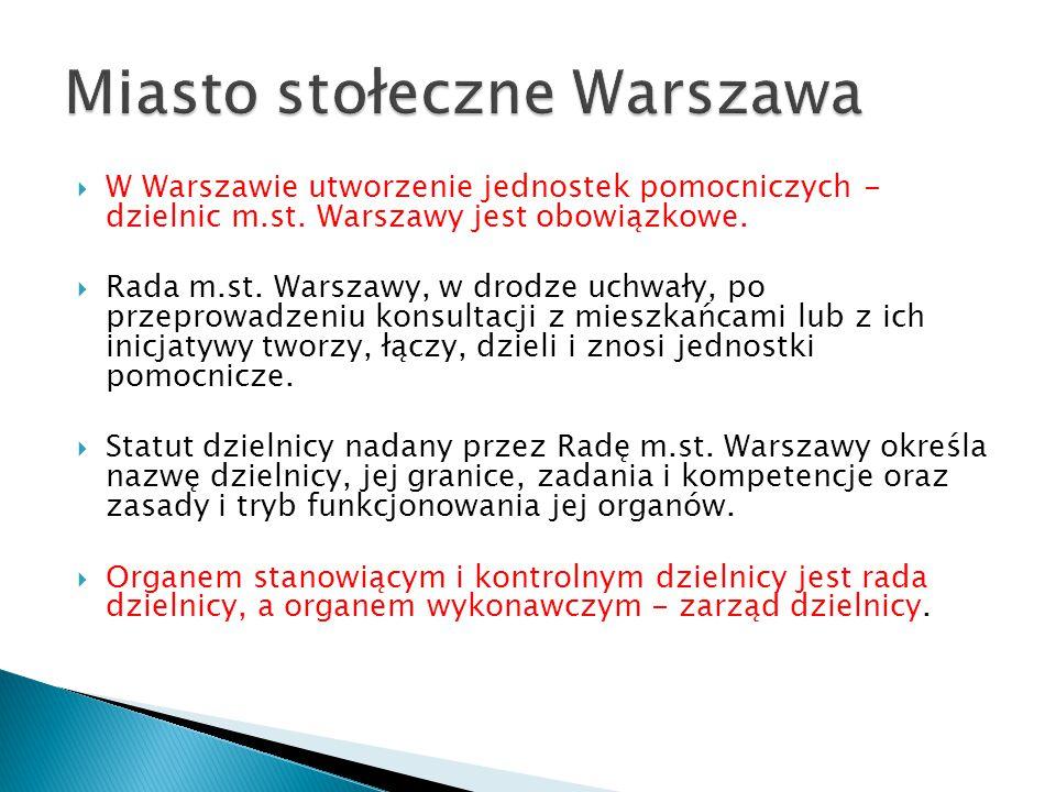  W Warszawie utworzenie jednostek pomocniczych - dzielnic m.st. Warszawy jest obowiązkowe.  Rada m.st. Warszawy, w drodze uchwały, po przeprowadzeni