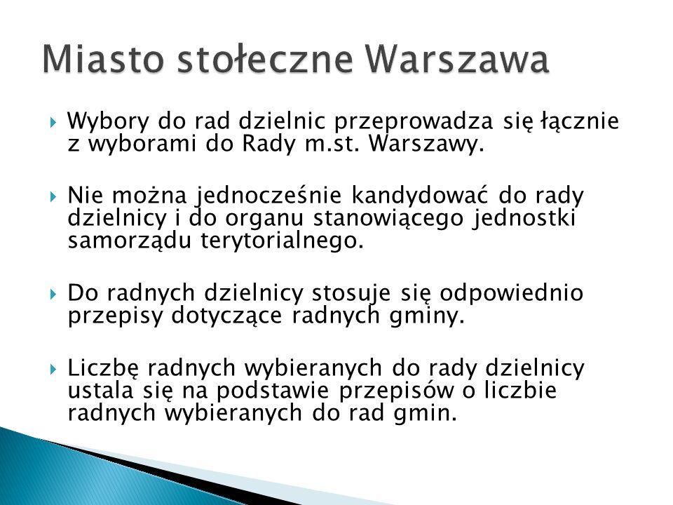 Wybory do rad dzielnic przeprowadza się łącznie z wyborami do Rady m.st. Warszawy.  Nie można jednocześnie kandydować do rady dzielnicy i do organu