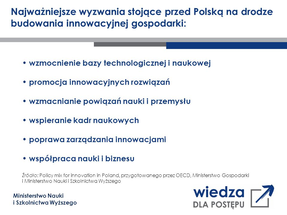 Ministerstwo Nauki i Szkolnictwa Wyższego Najważniejsze wyzwania stojące przed Polską na drodze budowania innowacyjnej gospodarki: wzmocnienie bazy te
