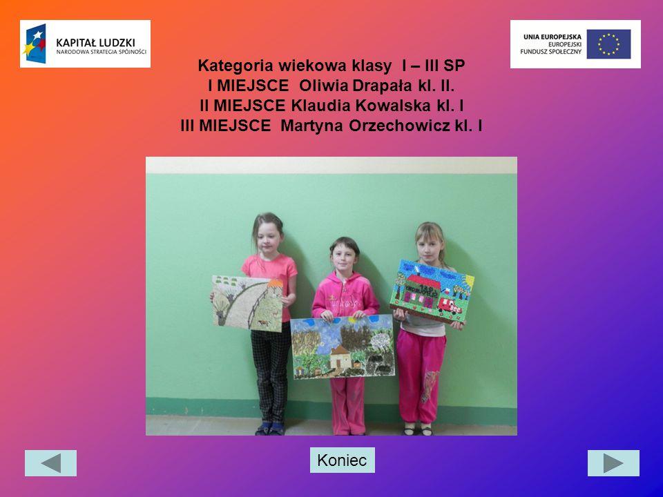 Koniec Kategoria wiekowa klasy I – III SP I MIEJSCE Oliwia Drapała kl. II. II MIEJSCE Klaudia Kowalska kl. I III MIEJSCE Martyna Orzechowicz kl. I