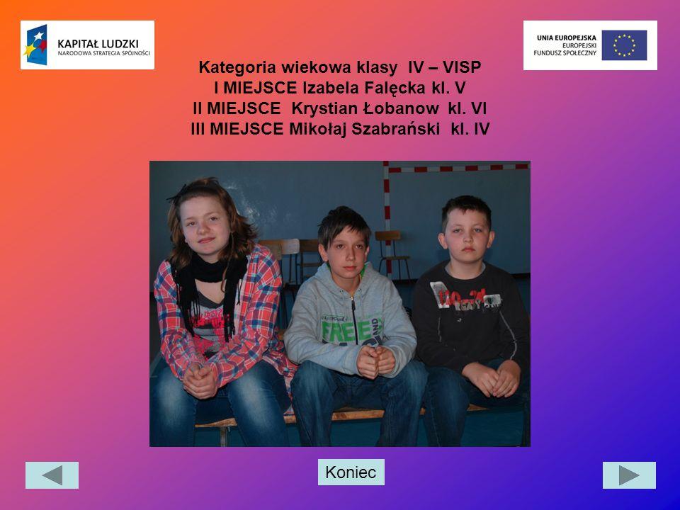 Koniec Kategoria wiekowa klasy IV – VISP I MIEJSCE Izabela Falęcka kl. V II MIEJSCE Krystian Łobanow kl. VI III MIEJSCE Mikołaj Szabrański kl. IV
