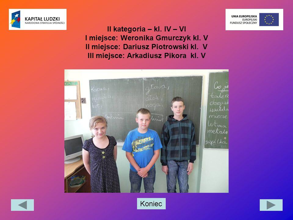 Koniec II kategoria – kl. IV – VI I miejsce: Weronika Gmurczyk kl. V II miejsce: Dariusz Piotrowski kl. V III miejsce: Arkadiusz Pikora kl. V