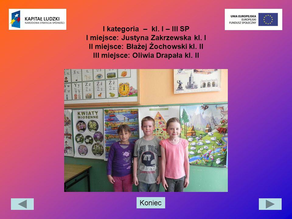 Koniec I kategoria – kl. I – III SP I miejsce: Justyna Zakrzewska kl. I II miejsce: Błażej Żochowski kl. II III miejsce: Oliwia Drapała kl. II