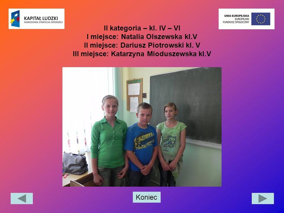 Koniec II kategoria – kl. IV – VI I miejsce: Natalia Olszewska kl.V II miejsce: Dariusz Piotrowski kl. V III miejsce: Katarzyna Mioduszewska kl.V