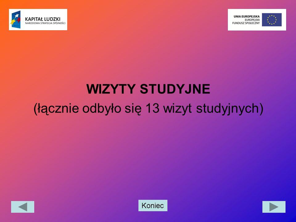Koniec WIZYTY STUDYJNE (łącznie odbyło się 13 wizyt studyjnych)
