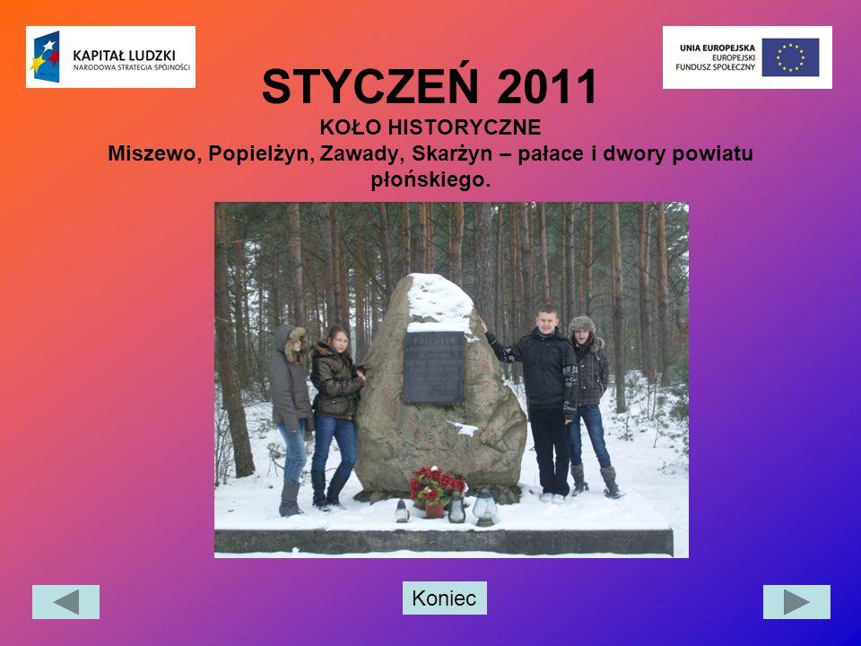 Koniec STYCZEŃ 2011 KOŁO HISTORYCZNE Miszewo, Popielżyn, Zawady, Skarżyn – pałace i dwory powiatu płońskiego.