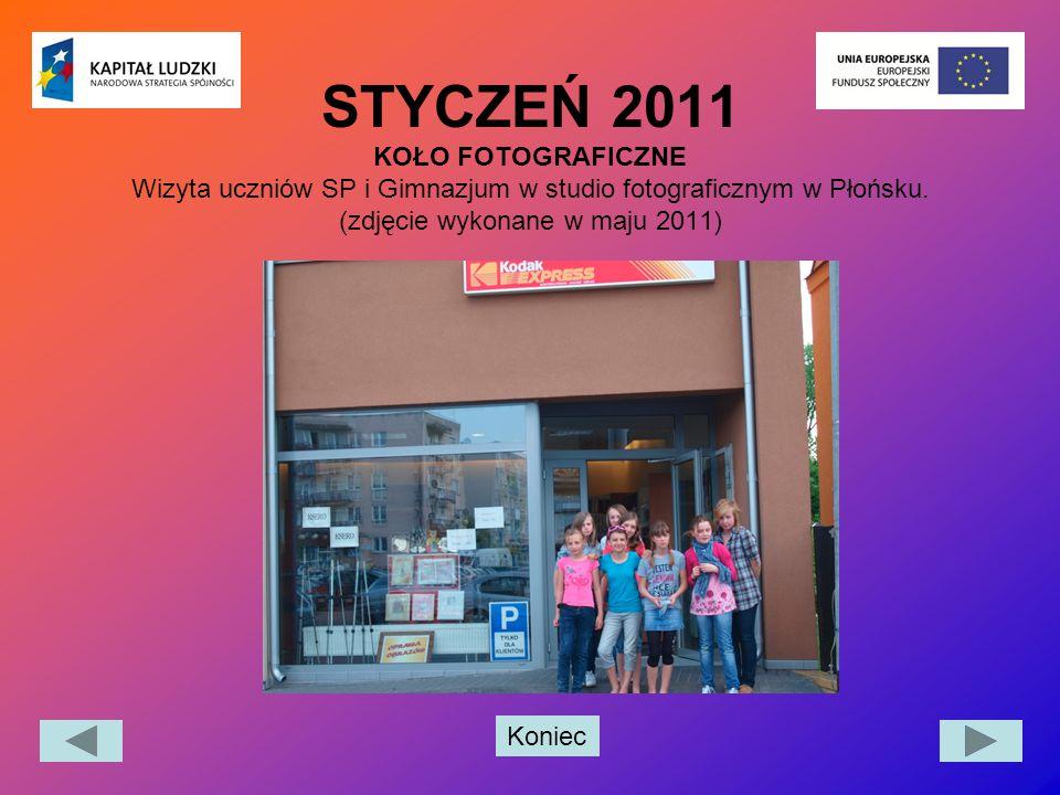 Koniec STYCZEŃ 2011 KOŁO FOTOGRAFICZNE Wizyta uczniów SP i Gimnazjum w studio fotograficznym w Płońsku. (zdjęcie wykonane w maju 2011)