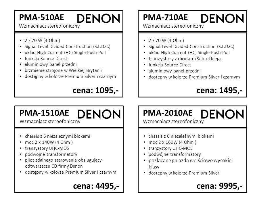 PMA-510AE Wzmacniacz stereofoniczny 2 x 70 W (4 Ohm) Signal Level Divided Construction (S.L.D.C.) układ High Current (HC) Single-Push-Pull funkcja Source Direct aluminiowy panel przedni brzmienie strojone w Wielkiej Brytanii dostępny w kolorze Premium Silver i czarnym cena: 1095,- PMA-710AE Wzmacniacz stereofoniczny 2 x 70 W (4 Ohm) Signal Level Divided Construction (S.L.D.C.) układ High Current (HC) Single-Push-Pull tranzystory z diodami Schottkiego funkcja Source Direct aluminiowy panel przedni dostępny w kolorze Premium Silver i czarnym cena: 1495,- PMA-1510AE Wzmacniacz stereofoniczny chassis z 6 niezależnymi blokami moc 2 x 140W (4 Ohm ) tranzystory UHC-MOS podwójne transformatory pilot zdalnego sterowania obsługujący odtwarzacze CD firmy Denon dostępny w kolorze Premium Silver i czarnym cena: 4495,- PMA-2010AE Wzmacniacz stereofoniczny chassis z 6 niezależnymi blokami moc 2 x 160W (4 Ohm ) tranzystory UHC-MOS podwójne transformatory pozłacane gniazda wejściowe wysokiej klasy dostępny w kolorze Premium Silver cena: 9995,-