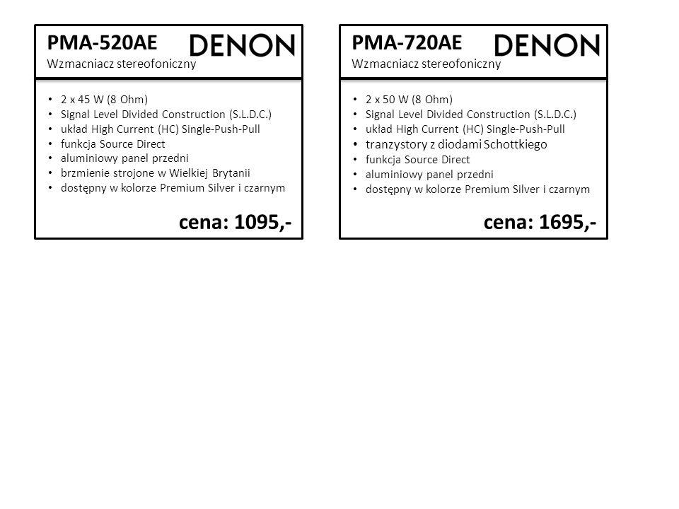 PMA-520AE Wzmacniacz stereofoniczny 2 x 45 W (8 Ohm) Signal Level Divided Construction (S.L.D.C.) układ High Current (HC) Single-Push-Pull funkcja Source Direct aluminiowy panel przedni brzmienie strojone w Wielkiej Brytanii dostępny w kolorze Premium Silver i czarnym cena: 1095,- PMA-720AE Wzmacniacz stereofoniczny 2 x 50 W (8 Ohm) Signal Level Divided Construction (S.L.D.C.) układ High Current (HC) Single-Push-Pull tranzystory z diodami Schottkiego funkcja Source Direct aluminiowy panel przedni dostępny w kolorze Premium Silver i czarnym cena: 1695,-