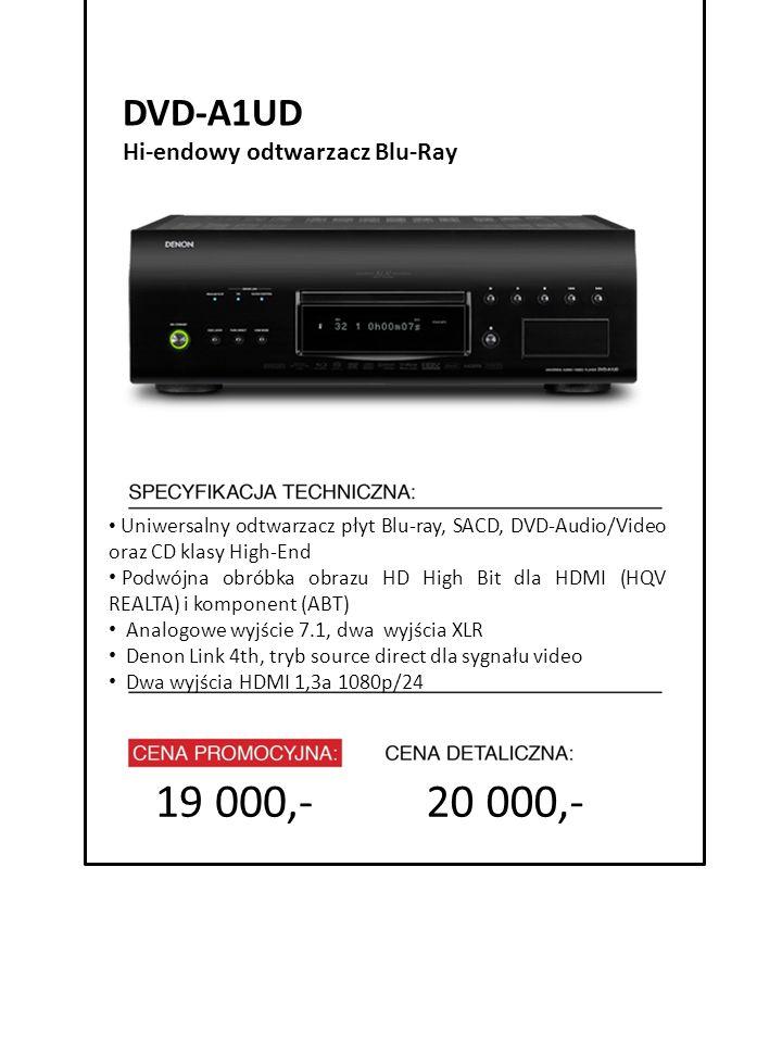 4999 zł cena promocyjna 20 000,- 7999 zł cena detaliczna Uniwersalny odtwarzacz płyt Blu-ray, SACD, DVD-Audio/Video oraz CD klasy High-End Podwójna ob