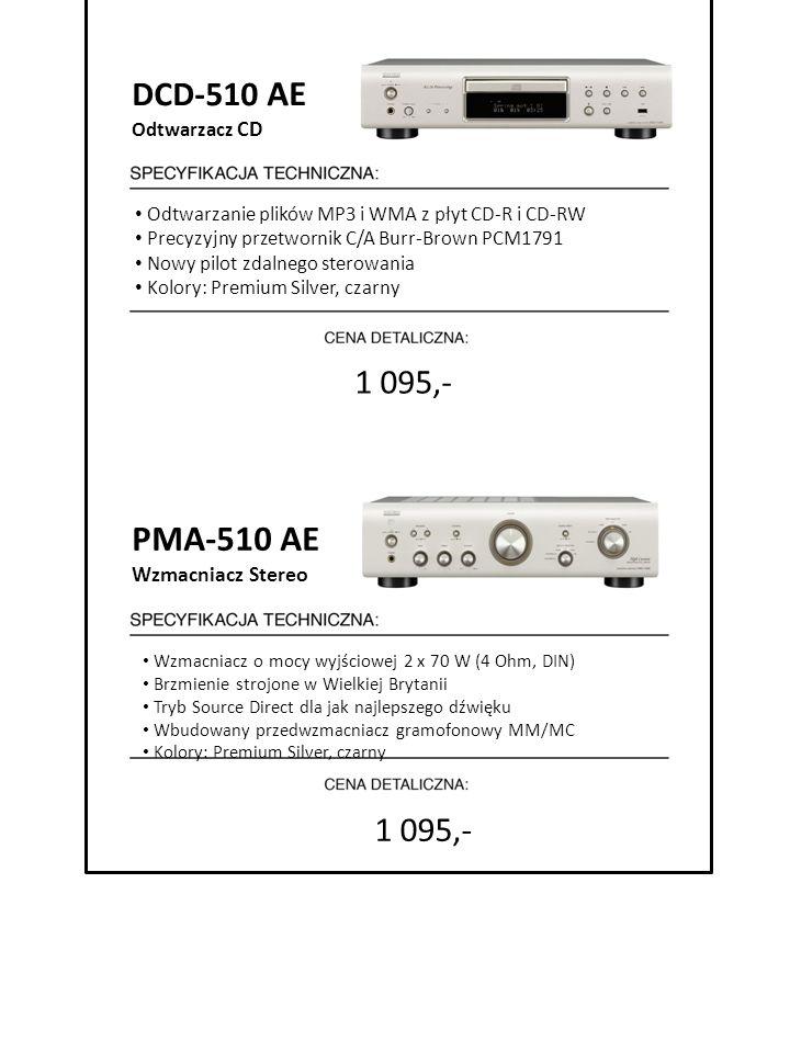 1 095,- 7999 zł cena detaliczna DCD-510 AE Odtwarzacz CD Odtwarzanie plików MP3 i WMA z płyt CD-R i CD-RW Precyzyjny przetwornik C/A Burr-Brown PCM179
