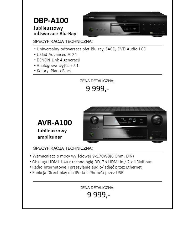 9 999,- Uniwersalny odtwarzacz płyt Blu-ray, SACD, DVD-Audio i CD Układ Advanced AL24 DENON Link 4 generacji Analogowe wyjście 7.1 Kolory Piano Black.