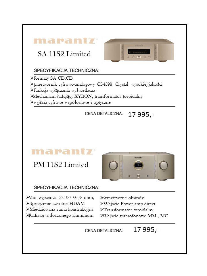 PM 11S2 Limited  Moc wyj ś ciowa 2x100 W /8 ohm,  Sprz ęż enie zwrotne HDAM  Miedziowana rama konstrukcyjna  Radiator z t ł oczonego aluminium  S