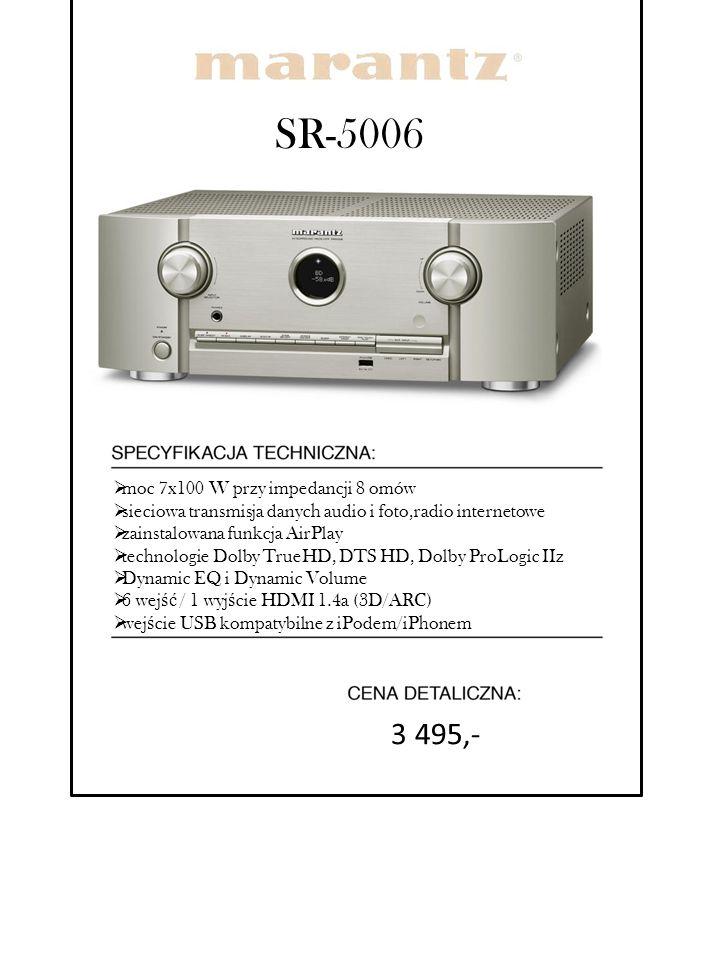 SR-5006  moc 7x100 W przy impedancji 8 omów  sieciowa transmisja danych audio i foto,radio internetowe  zainstalowana funkcja AirPlay  technologie