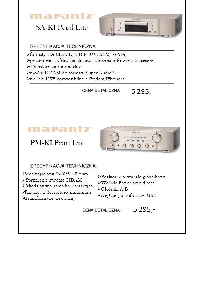 PM-KI Pearl Lite  Moc wyj ś ciowa 2x70W / 8 ohm,  Sprz ęż enie zwrotne HDAM  Miedziowana rama konstrukcyjna  Radiator z t ł oczonego aluminium  T