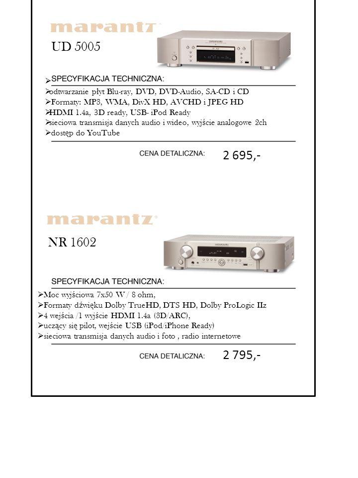 NR 1602  Moc wyj ś ciowa 7x50 W / 8 ohm,  Formaty d ź wi ę ku Dolby TrueHD, DTS HD, Dolby ProLogic IIz  4 wej ś cia /1 wyj ś cie HDMI 1.4a (3D/ARC)