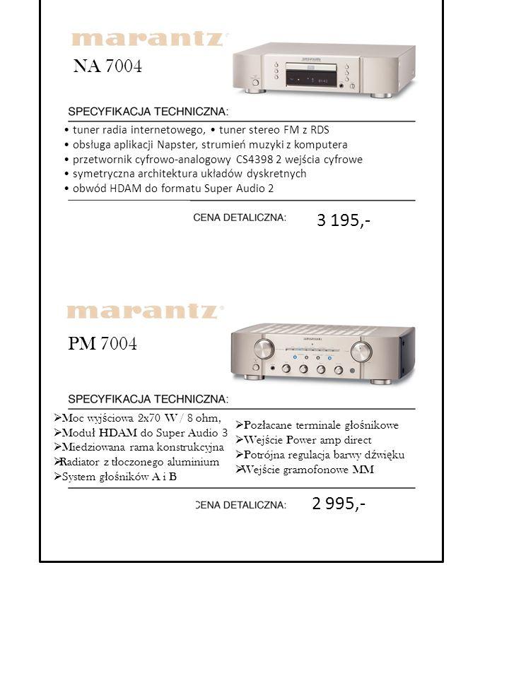 PM 7004  Moc wyj ś ciowa 2x70 W / 8 ohm,  Modu ł HDAM do Super Audio 3  Miedziowana rama konstrukcyjna  Radiator z t ł oczonego aluminium  System