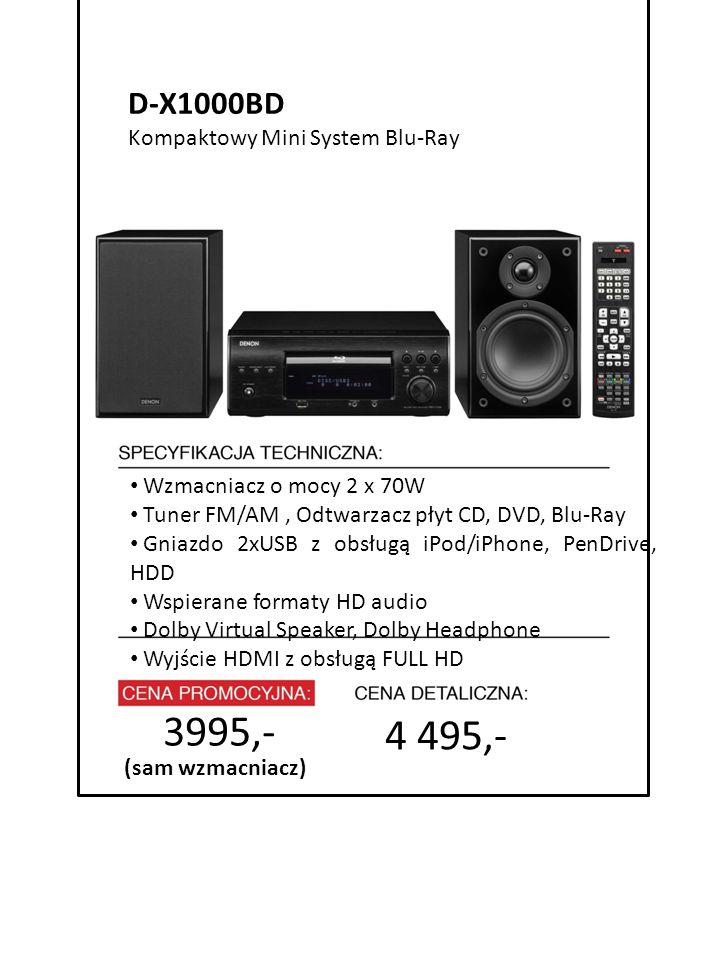 4999 zł cena promocyjna 4 495,- 7999 zł cena detaliczna Wzmacniacz o mocy 2 x 70W Tuner FM/AM, Odtwarzacz płyt CD, DVD, Blu-Ray Gniazdo 2xUSB z obsług