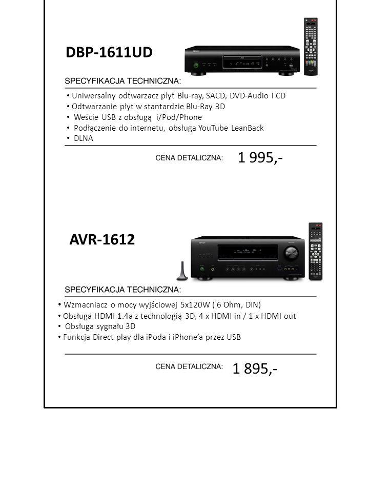 1 895,- Uniwersalny odtwarzacz płyt Blu-ray, SACD, DVD-Audio i CD Odtwarzanie płyt w stantardzie Blu-Ray 3D Weście USB z obsługą i/Pod/Phone Podłączen
