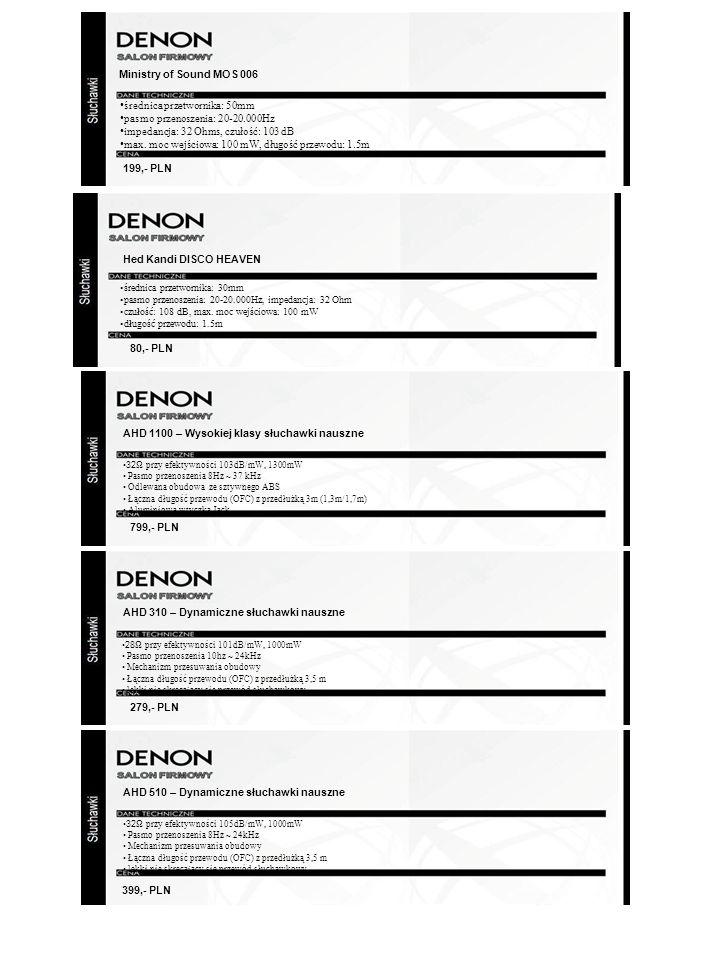 Hed Kandi DISCO HEAVEN AHD 1100 – Wysokiej klasy słuchawki nauszne 32 Ω przy efektywności 103dB/mW, 1300mW Pasmo przenoszenia 8Hz ~ 37 kHz Odlewana ob