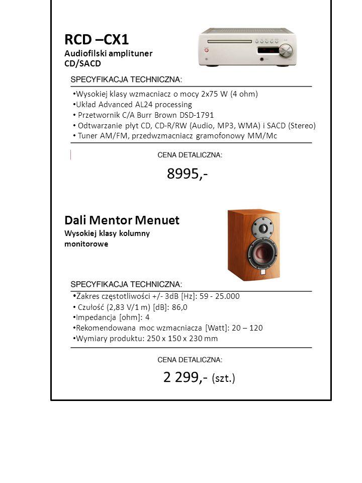 2 299,- (szt.) RCD –CX1 Audiofilski amplituner CD/SACD Wysokiej klasy wzmacniacz o mocy 2x75 W (4 ohm) Układ Advanced AL24 processing Przetwornik C/A
