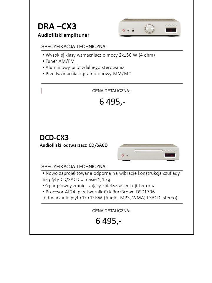 6 495,- DRA –CX3 Audiofilski amplituner Wysokiej klasy wzmacniacz o mocy 2x150 W (4 ohm) Tuner AM/FM Aluminiowy pilot zdalnego sterowania Przedwzmacni