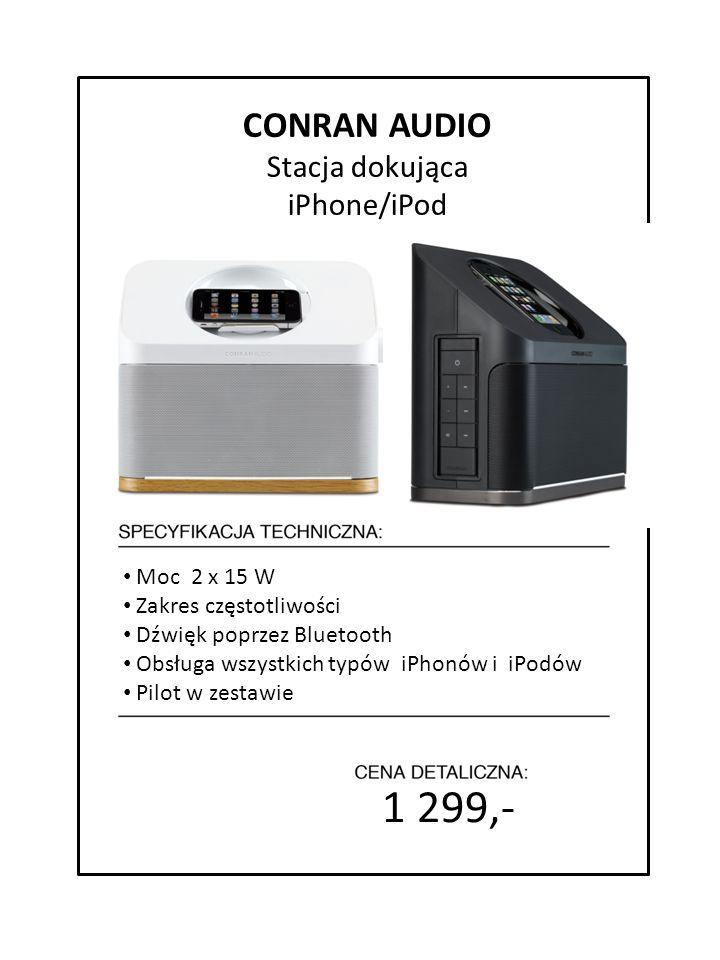 1 299,- 7999 zł cena detaliczna Moc 2 x 15 W Zakres częstotliwości Dźwięk poprzez Bluetooth Obsługa wszystkich typów iPhonów i iPodów Pilot w zestawie