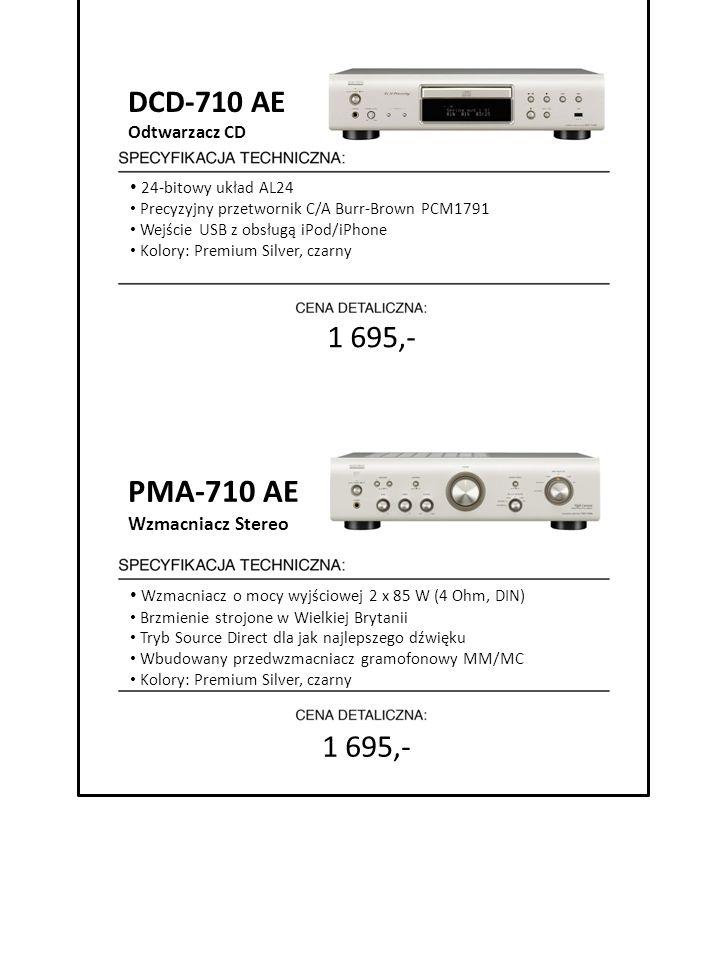 7999 zł cena detaliczna DCD-710 AE Odtwarzacz CD 24-bitowy układ AL24 Precyzyjny przetwornik C/A Burr-Brown PCM1791 Wejście USB z obsługą iPod/iPhone