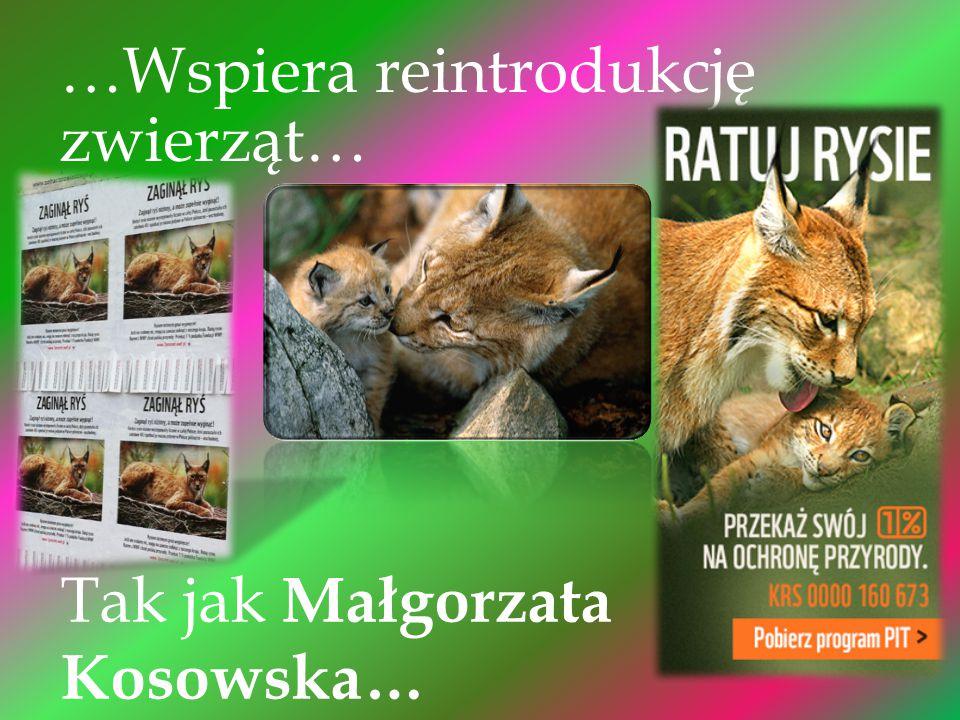 …Wspiera reintrodukcję zwierząt… Tak jak Małgorzata Kosowska…