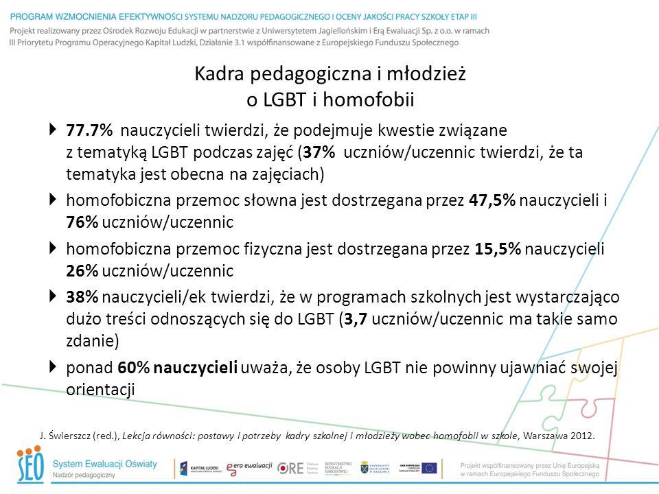 Kadra pedagogiczna i młodzież o LGBT i homofobii – cd.