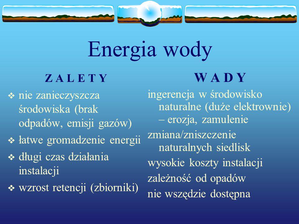 Energia wody Z A L E T Y  nie zanieczyszcza środowiska (brak odpadów, emisji gazów)  łatwe gromadzenie energii  długi czas działania instalacji  w