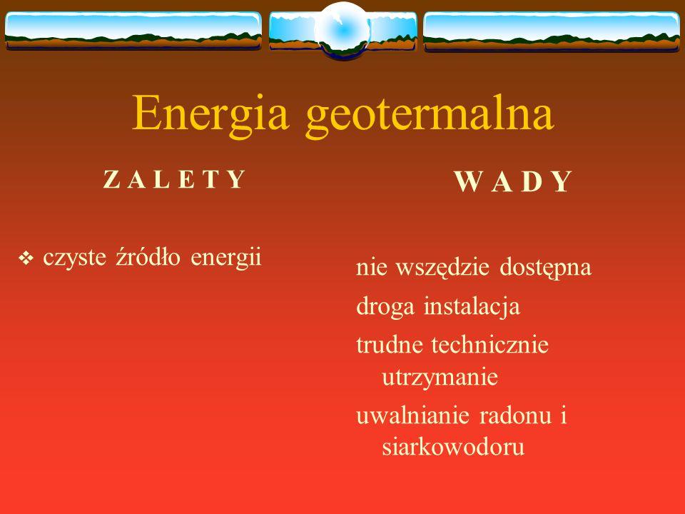 Energia geotermalna Z A L E T Y  czyste źródło energii W A D Y nie wszędzie dostępna droga instalacja trudne technicznie utrzymanie uwalnianie radonu