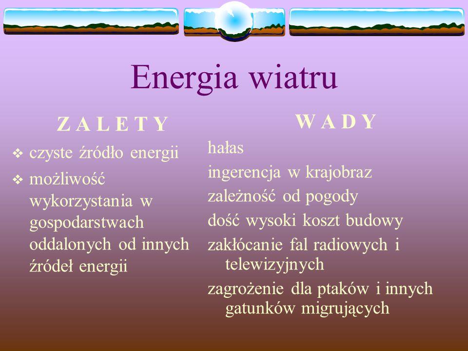 Energia wiatru Z A L E T Y  czyste źródło energii  możliwość wykorzystania w gospodarstwach oddalonych od innych źródeł energii W A D Y hałas ingere