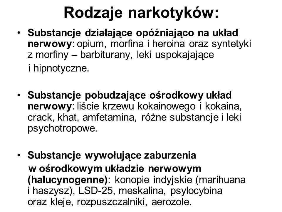 Rodzaje narkotyków: Substancje działające opóźniająco na układ nerwowy: opium, morfina i heroina oraz syntetyki z morfiny – barbiturany, leki uspokaja