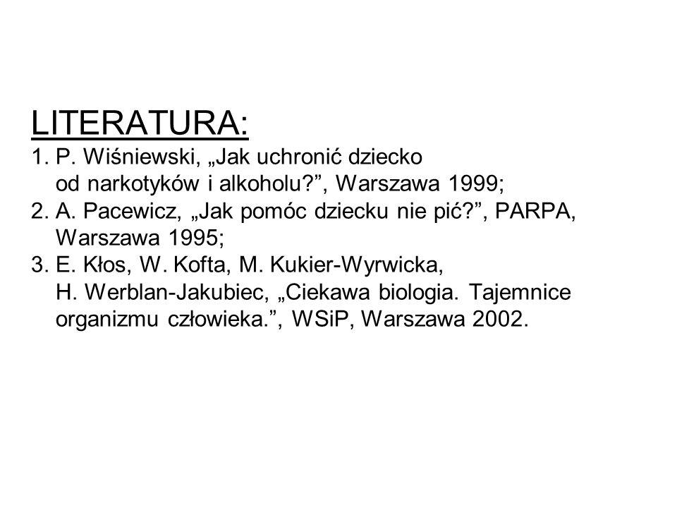 """LITERATURA: 1. P. Wiśniewski, """"Jak uchronić dziecko od narkotyków i alkoholu?"""", Warszawa 1999; 2. A. Pacewicz, """"Jak pomóc dziecku nie pić?"""", PARPA, Wa"""