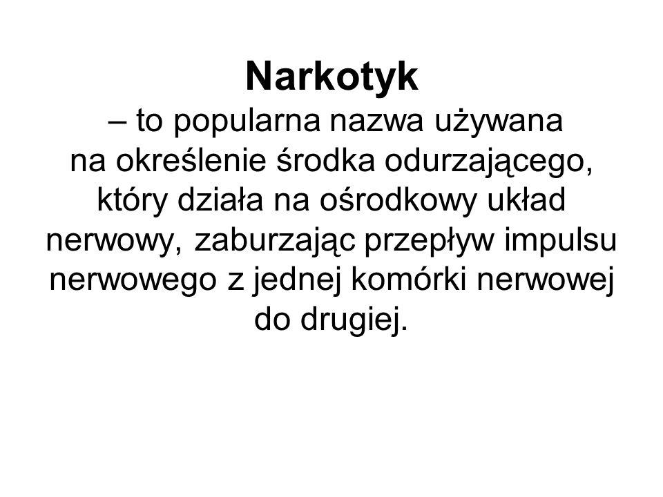 Narkotyk – to popularna nazwa używana na określenie środka odurzającego, który działa na ośrodkowy układ nerwowy, zaburzając przepływ impulsu nerwoweg