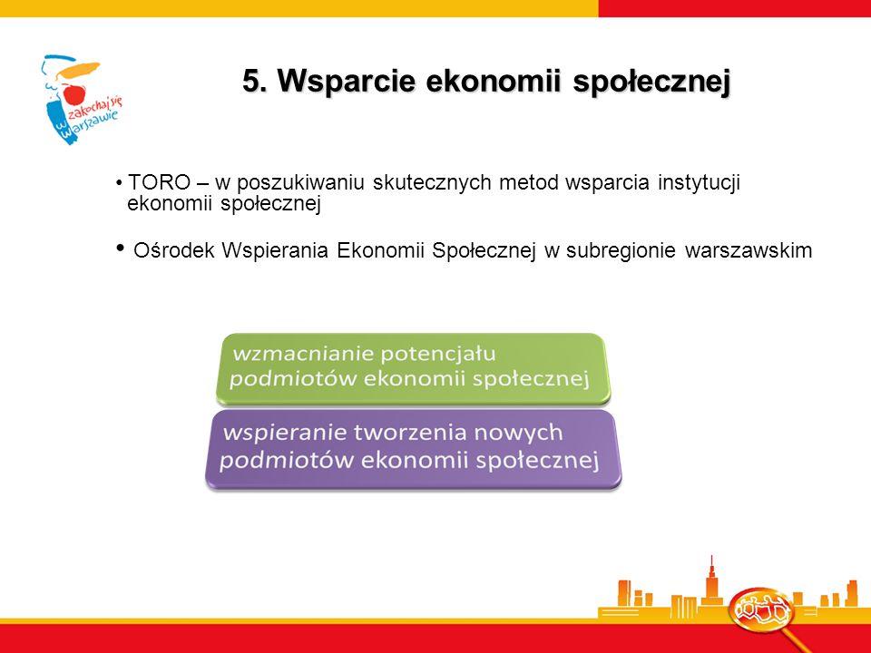 5. Wsparcie ekonomii społecznej TORO – w poszukiwaniu skutecznych metod wsparcia instytucji ekonomii społecznej Ośrodek Wspierania Ekonomii Społecznej