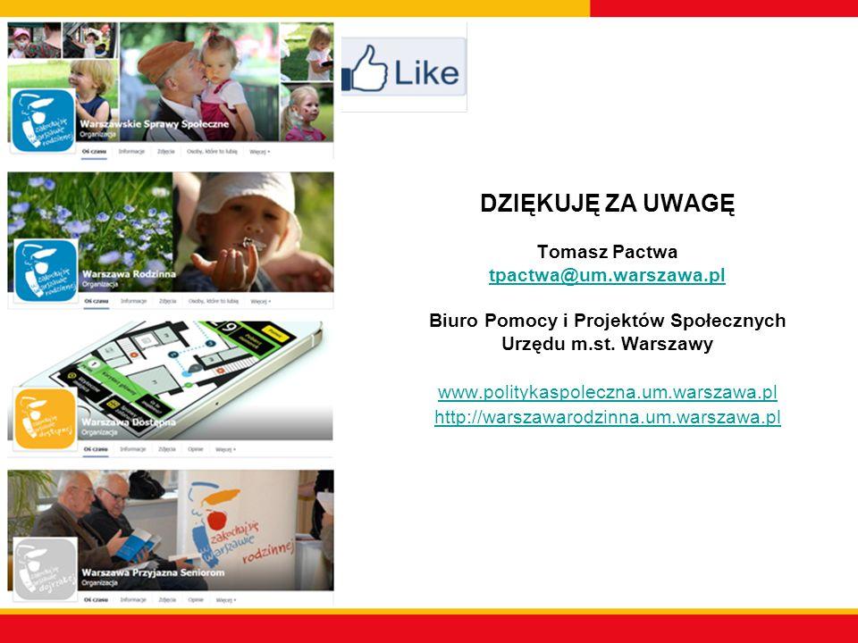DZIĘKUJĘ ZA UWAGĘ Tomasz Pactwa tpactwa@um.warszawa.pl Biuro Pomocy i Projektów Społecznych Urzędu m.st.
