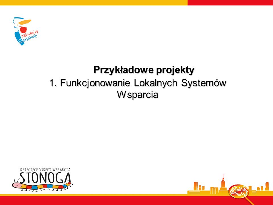 1. Funkcjonowanie Lokalnych Systemów Wsparcia Przykładowe projekty