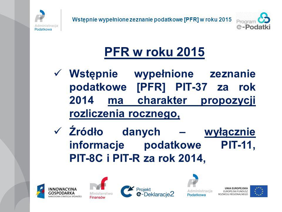 PFR w roku 2015 Wstępnie wypełnione zeznanie podatkowe [PFR] PIT-37 za rok 2014 ma charakter propozycji rozliczenia rocznego, Źródło danych – wyłączni