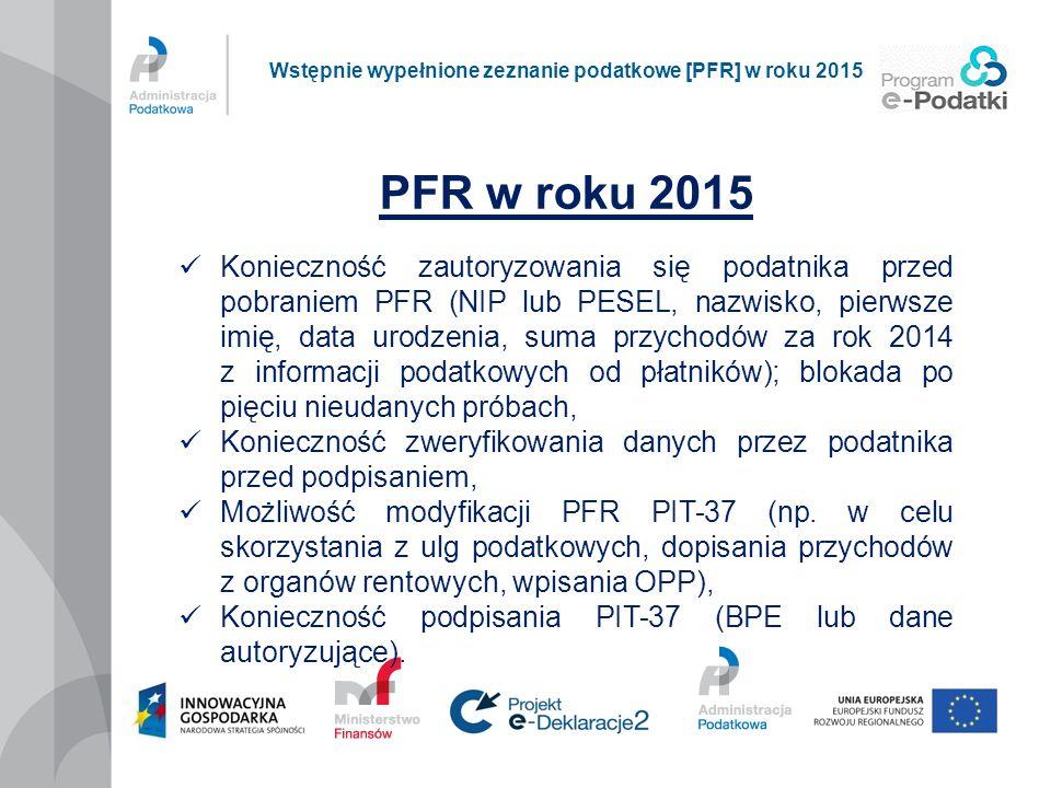 PFR w roku 2015 Konieczność zautoryzowania się podatnika przed pobraniem PFR (NIP lub PESEL, nazwisko, pierwsze imię, data urodzenia, suma przychodów
